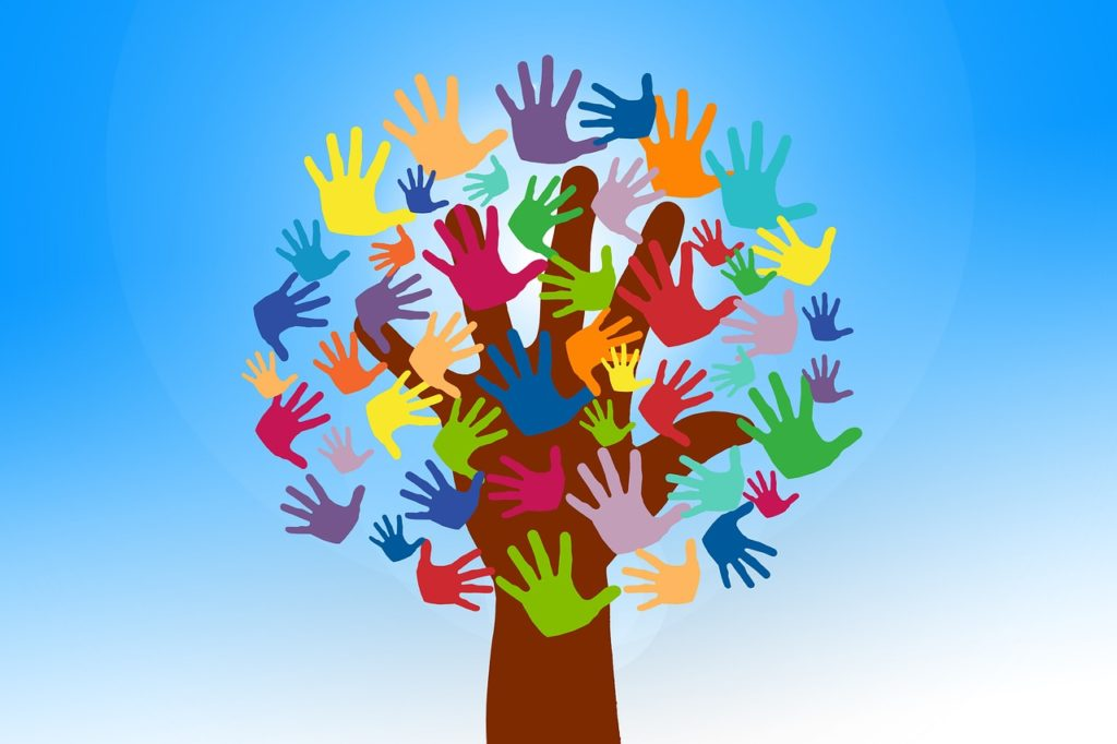 volunteers, hands, tree